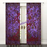 """Tree of life Curtains Grommet Top Thermal Insulated Wide Width Curtains for Kids Room 82 x 41"""" Inch Purple Two Panel"""
