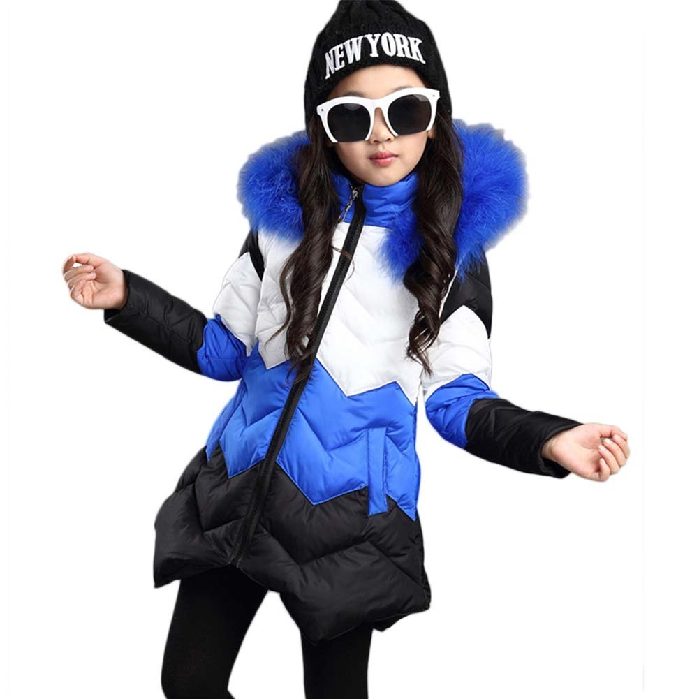 Girls\' Faux Fur Trimmed Hooded Winter Down Jacket WYSBAOSHU 84-N9G9-EN1T