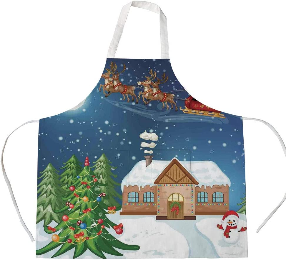 Cotton Linen Apron,Two Side Pocket,Christmas Decorations,Classic Eve Scene Santa Delivering Gift with Rudolf The Red Nosed Reindeer,Multi,for Cooking Baking Gardening