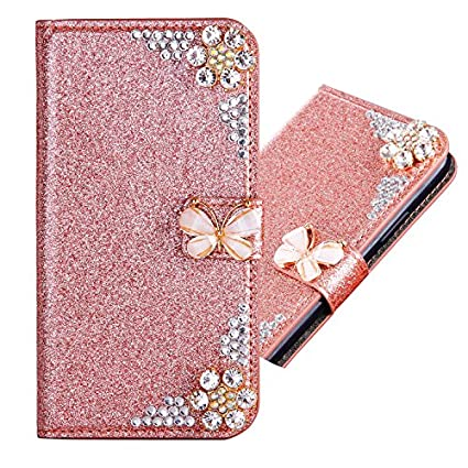 Samsung Galaxy S6 Edge 3D Butterfly Sunflower Bling Glitter Glitzer Diamond Musterg Ledertasche Slim Retro Bookstyle mit Standfunktion Karteneinschub Magnetverschluss Flip Wallet Hü lle Schutzhü lle IKALITE