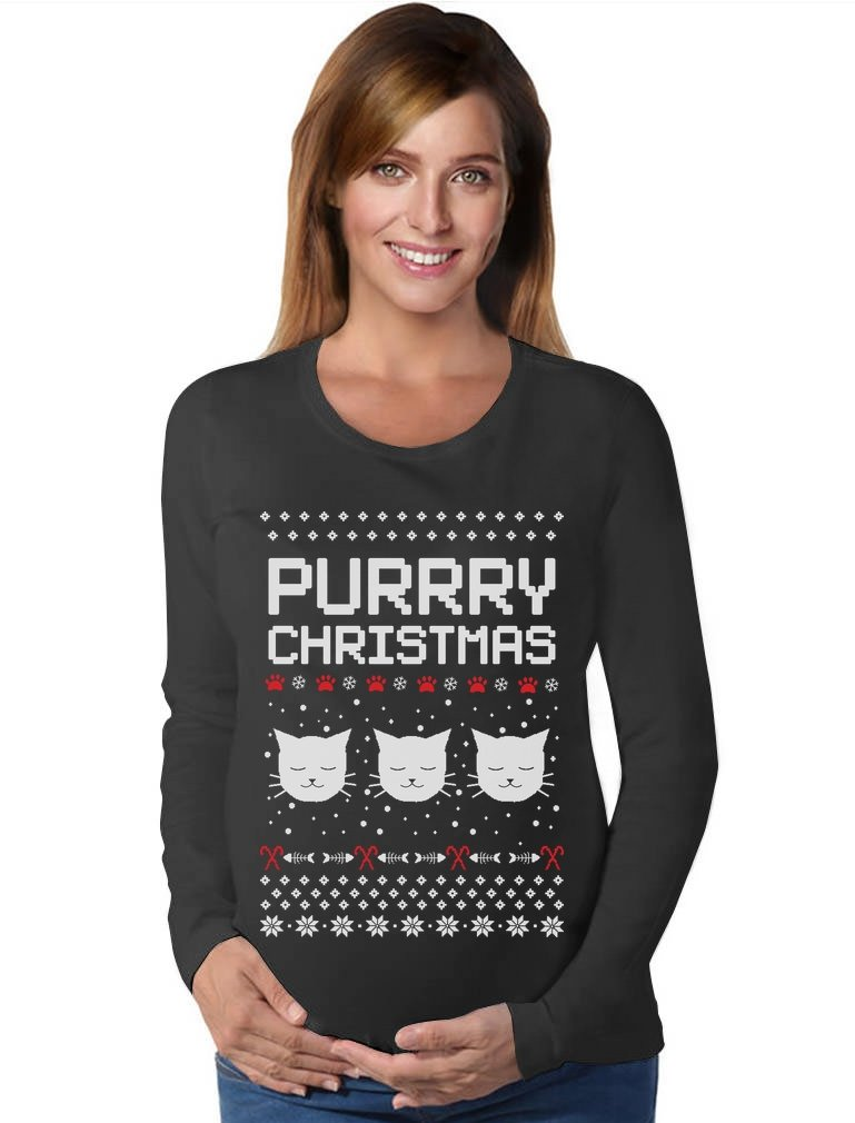 Purrry Christmas Ugly Sweater Gift for Cat Lover Maternity Long Sleeve Shirt Medium Black