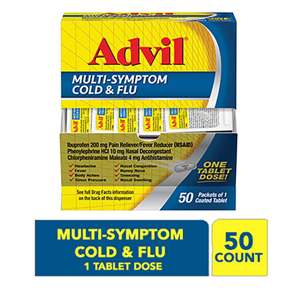 Advil Multi-Symptom Cold & Flu, 200mg Ibuprofen, Pain & Fever Reducer, (50Count), Nasal Decongestant, Fast Relief for Nasal Congestion, Headache, Runny Nose, Sneezing, Body Aches & Sinus Pressure by Advil Cold & Sinus