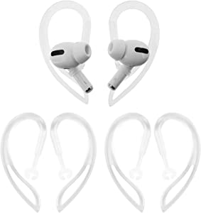 IiEXCEL Ear Hooks for AirPods Pro, 360° Rotation Adjustable Flexible Anti-Slip Anti-Lost Sport Outdoor Replacement Earhooks Ear Tips Holder for Apple AirPods Pro - Translucent