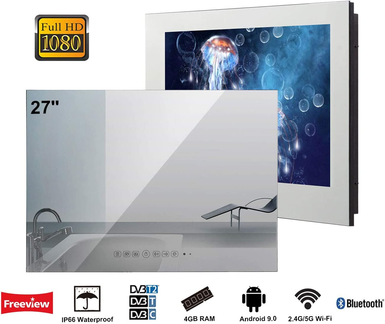 Soulaca innovativtv LED Andriod Smart TV Baño Espejo Frontal 27 Pulgadas Resistente al Agua IP66 con Wi-Fi Incorporado: Amazon.es: Electrónica
