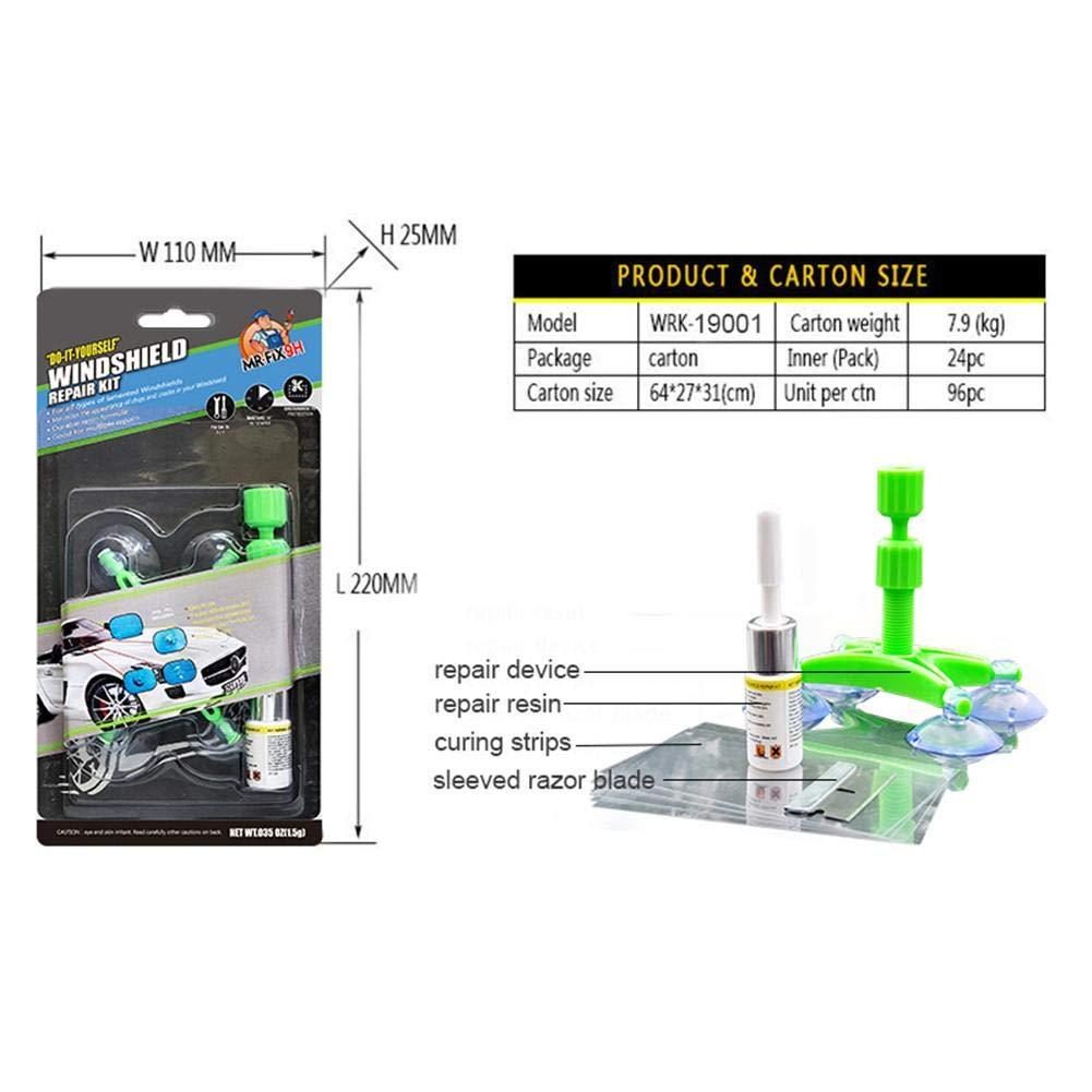Kit per Utensili Fai-da-Te di Riparazione del Parabrezza in Resina con fessurazioni in Vetro Kit di Strumenti di Riparazione fluidi per Riparazione Nano di Vetro per autoveicoli