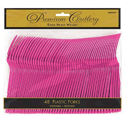 - Premium Heavy Weight Plastic Forks | Magenta | Pack of 48 | Party Supply