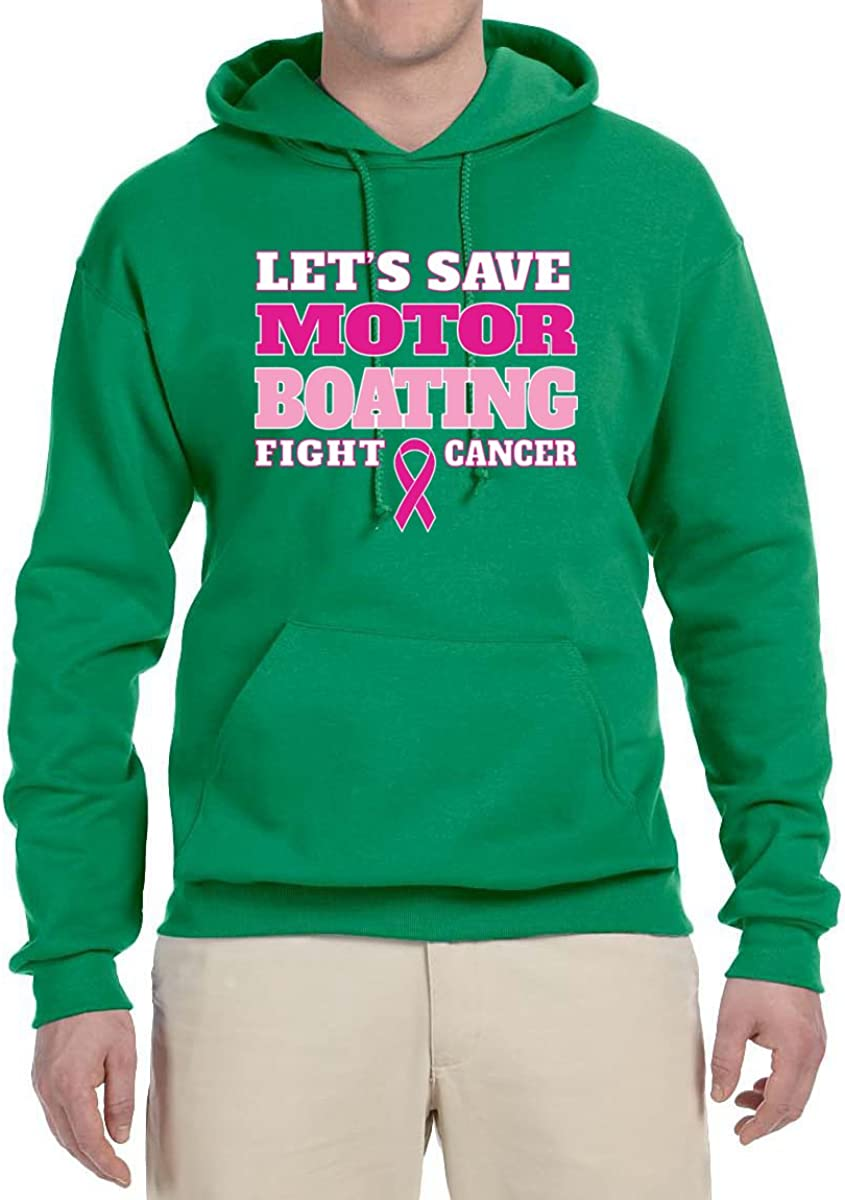 Kelly Mens Breast Cancer Awareness Hooded Sweatshirt Graphic Hoodie X-Large Wild Bobby Lets Save Motor Boating Fight Cancer