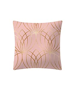 QingJiu Rose Gold Pink Cushion Cover Square Pillowcase Home Decoratio (G, 45X45cn)