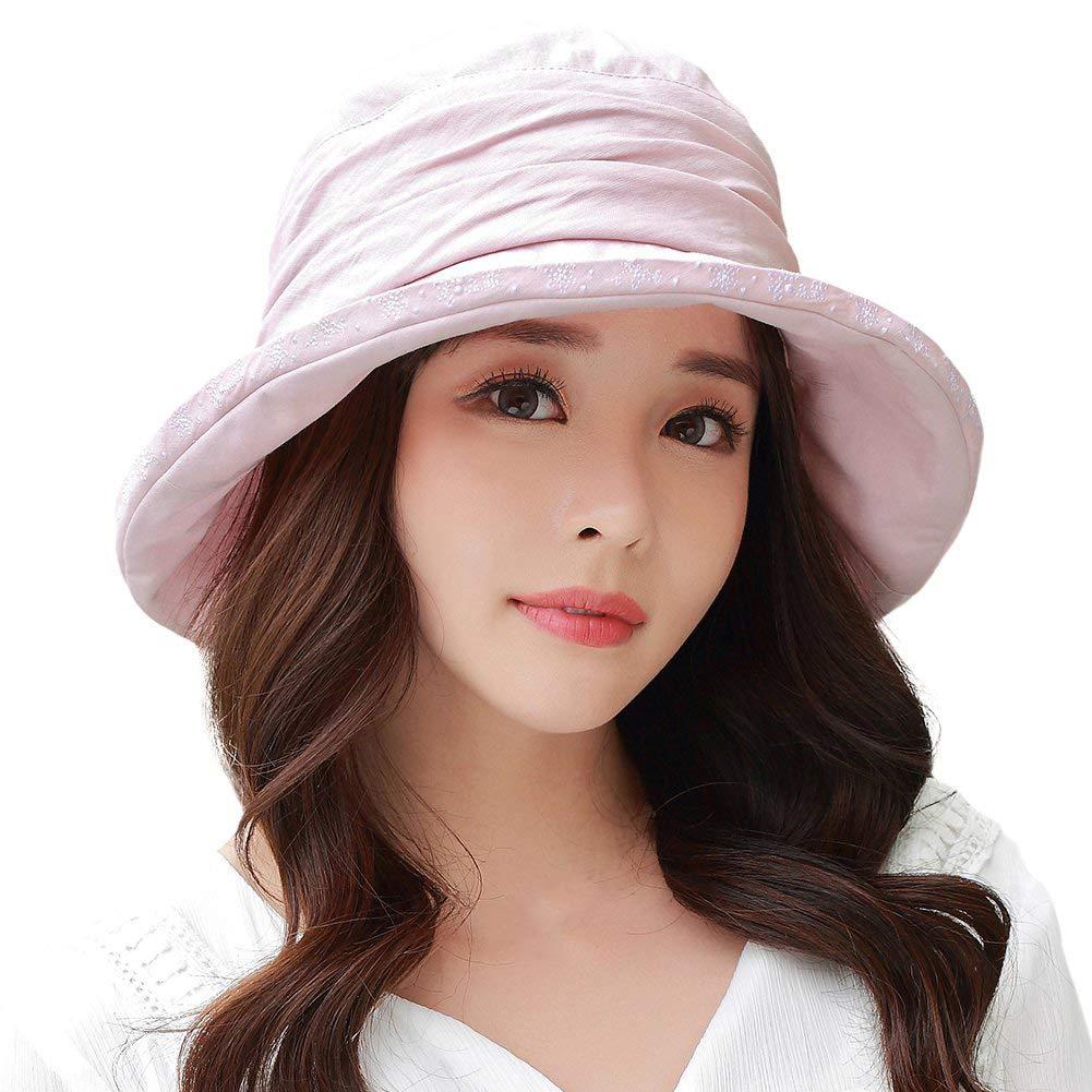 SIGGI Ladies UPF50+ Crushable Bucket Boonie Sun Hat Fishing Hiking Sunhats w/Chin Cord Pink