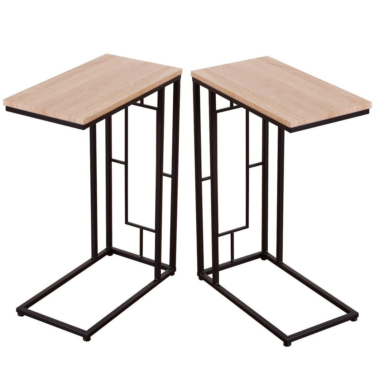 2 Pcs Minimal Style C shape Functional Side End Table