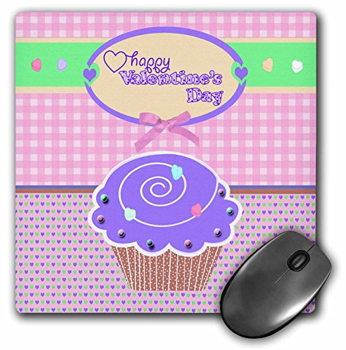3dRose Beverly Turner Valentine Design - Valentine Purple Cupcake with Candies on Peach Gingham and Tiny Hearts - MousePad (mp_173151_1)