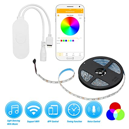 funzione di temporizzazione dimmerabile controllo vocale Controller Smart WiFi per luci a strisce LED controller Wifi LED Funziona con Alexa e Google Assistant