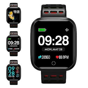 KUNGIX Reloj Inteligente, Smartwatch Pulsera Actividad Inteligente Impermeable IP67 Pantalla Color Pulsera Podómetro con Pulsómetro