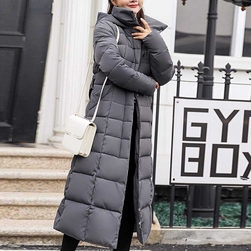 Womens Loose Fitting Winter Thickened Hooded Stripes Down Coat Jacket Casual Down Parka Womans Loose Down Parka Long Down Coat For Lady