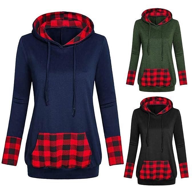 HYIRI Womens Slim Hooded Plaid with Diagonal Collared V ...