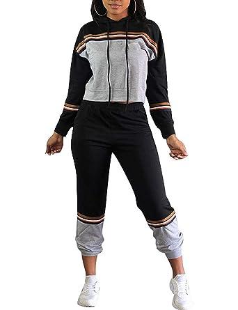 6237e89aa5b 2Pcs Womens Hoodies Sport Tops Pants Tracksuit Sweatshirt Sweat Suit  Jogging Set(Black 2-
