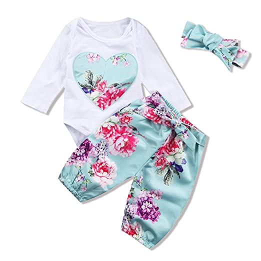 4a65ce389 Amazon.com  Baby Girls Floral Heart Peach Letter Romper Pants + ...