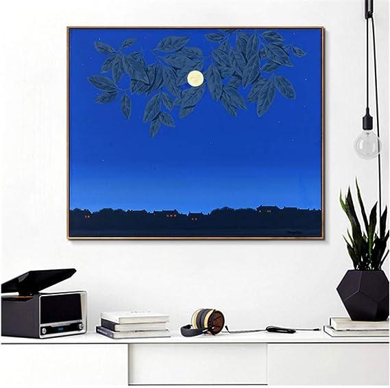 Rene Magritte Moon and Blue Sky By Canvas Painting Imagen de arte de pared para sala de estar Comedor Dormitorio Decoración del hogar -50x60cm Sin marco: Amazon.es: Bricolaje y herramientas
