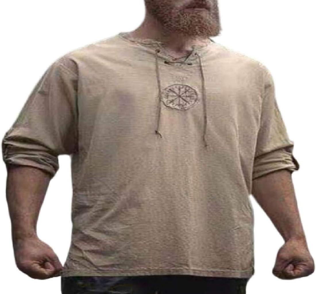 Fensajomon - Camisa de Lino Victoriana con cordón para Hombre - - US XXX-Large: Amazon.es: Ropa y accesorios