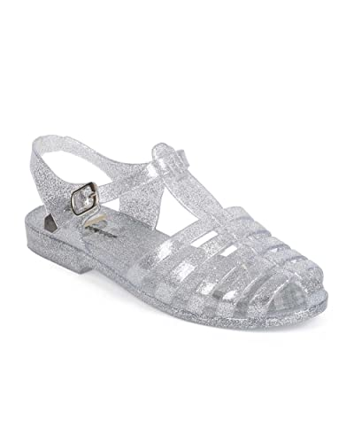 51cb8befaa00 Glitter Jelly Classic Fisherman Sandal Flat (Toddler Little Girl Big Girl)  EA67