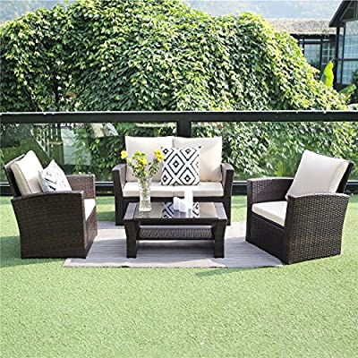 Outdoor Patio Furniture Set Garden Lawn Rattan Sofa Cushioned Seat Wicker Sofa