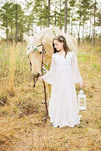 Festa Bianco Sposa Prom Da Principessa Battesimo Ragazza Damigella Abito Avorio Con Fiore Abiti D'onore qw68vIXI