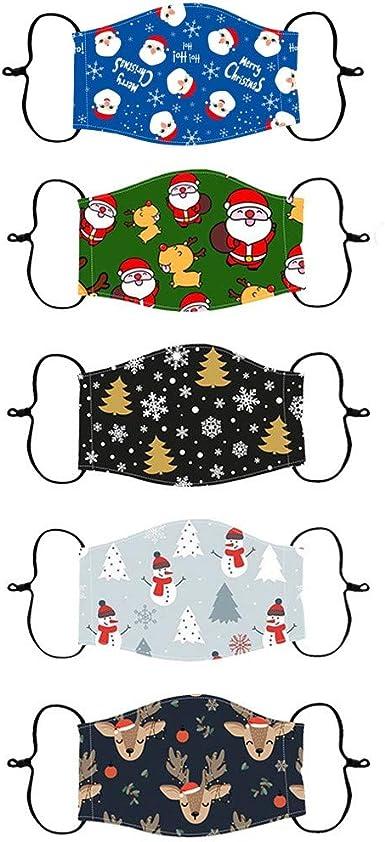 para deportes al aire libre protecci/ón reutilizable bandanas dise/ño de calabaza VijTIAN mu/ñeco de nieve ciclismo camping Halloween 5 mascarillas lavables para Navidad