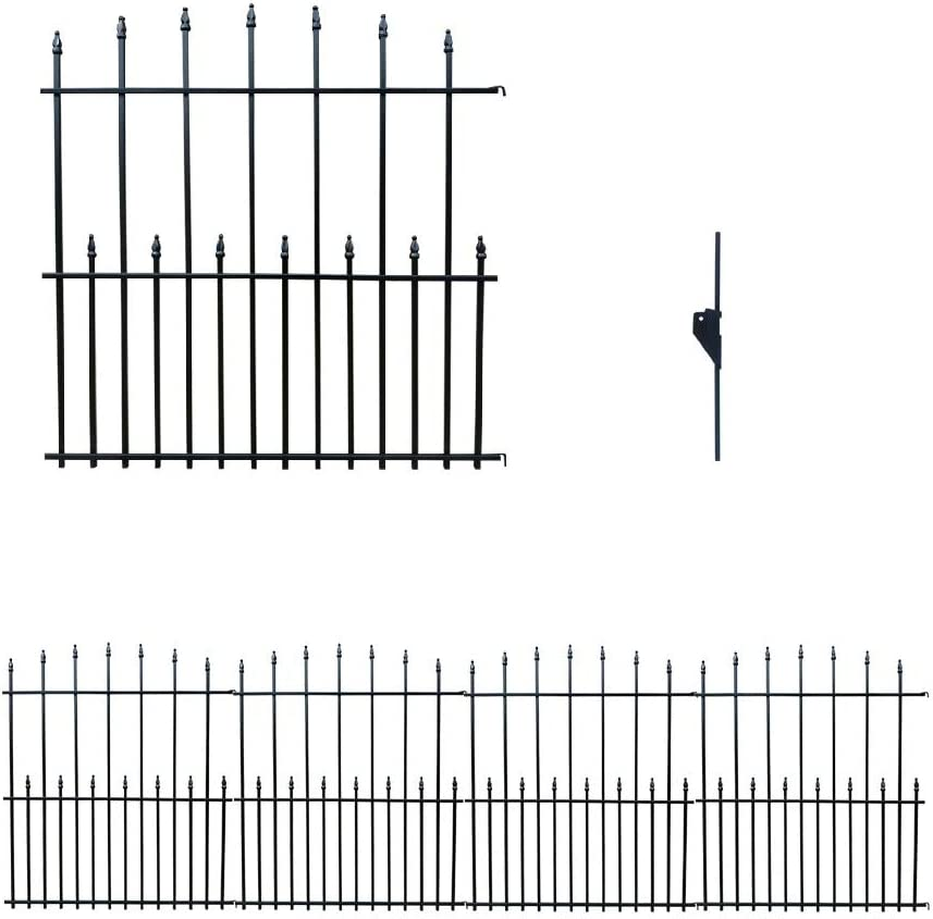 MTB Black Steel Decorative Garden Fence Panels, Metal Fence Animal Barrier 42.3 in H x 33 in W (Pack of 4, Overall 11-ft) Landscape Border Fence, Arched Top