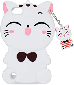 Mulafnxal White Cat Case for iPod Touch 5 6 5th 6th,3D Soft Silicone Cases,Cute Cartoon Animal Fun Cover,Kawaii Character Unique Girls Kids Cool Protective Protector,Shockproof Rubber Shell for iPod65