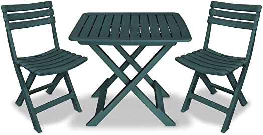vidaXL 3 Piece Folding Bistro Set Balcony Set Patio Dining Furniture Bistro Tables and Chair Pub Table Outdoor Dining Set Durable Plastic Green