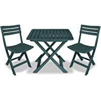 vidaXL 3 Piece Folding Bistro Set Plastic Weather Resistant Slatted Design 2 Chairs and 1 Table Outdoor Lounge Seat…