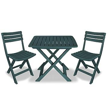 Vidaxl Bistro Set Three Piece Plastic Green Outdoor Folding Table
