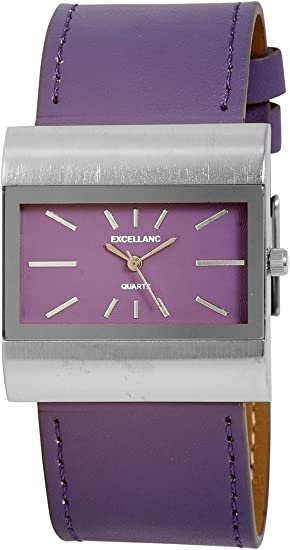 Reloj mujer Lila Plata Rectángulo rectangular piel Reloj de pulsera