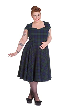 Hell Bunny Vintage Inspired Ireland Love Dublin Tartan Flare Dress (4XL) bff846e53
