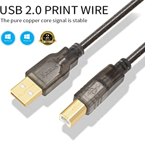 Printer Cable USB Printer Scanner Cable 6ft High Speed A Male to B Male Cord for HP, Canon, Epson, Dell, Samsung etc
