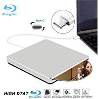 External Blu Ray DVD Drive Burner Player USB3.0 Portable Slim Automatic Slot-Loading CD/DVD-RAM/BD-ROM Superdrive +/- RW Rewriter/Reader with High Speed Data for Laptop Windows Mac OS