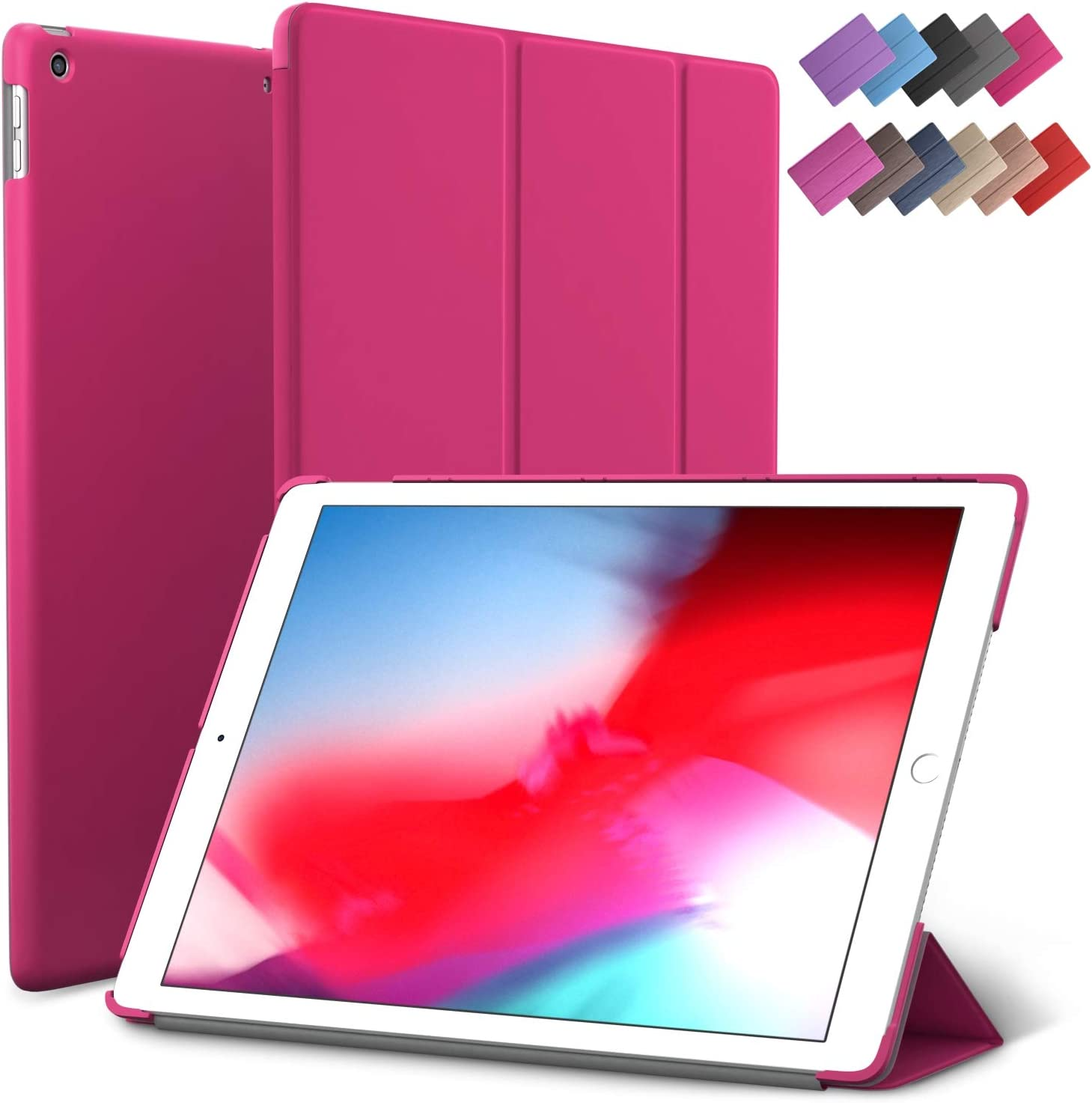 iPad Mini 5 case, ROARTZ Magenta Slim Fit Smart Rubber Coated Folio Case Hard Cover Light-Weight Wake/Sleep for Apple iPad Mini 5th Generation 2019 Model A2133 A2124 A2126 7.9-inch Display