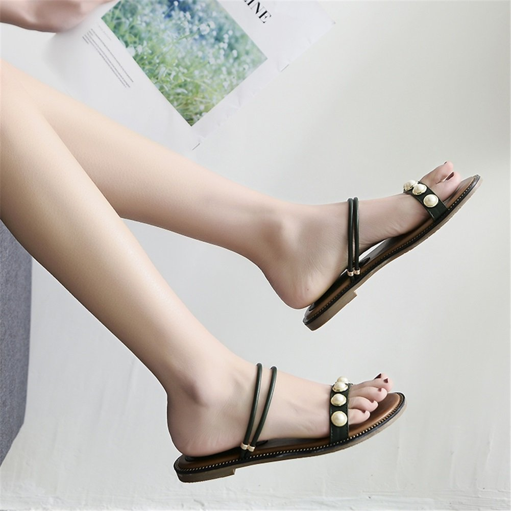 Exing Womens's Shoes Summer New PU Sandals Flat Bottom Black Sandals Open Toe Pearl Ladies Shoes for Daily Black Bottom White B07DBYWBP2 38|A d59351