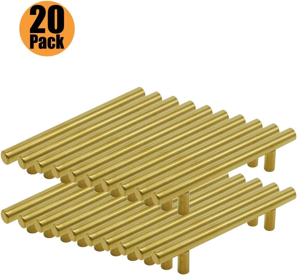 5 St/ück Schrank Schublade T/ürgriff Stangengriff Edelstahl K/üchenschrank Bohrlochabstand 64 mm 6x25 mm Schrauben Gold T Stangengriff M/öbelgriffe Serie