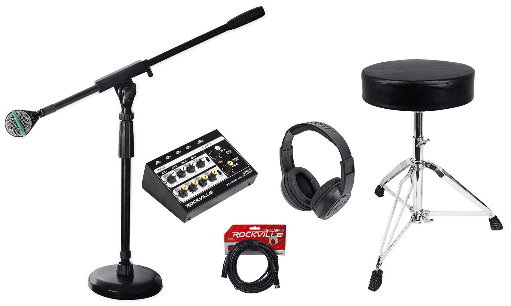 AKG D112 MKII Kick Drum Bass Guitar Microphone+Mic Mixer+Stand+Throne+Headphones by AKG
