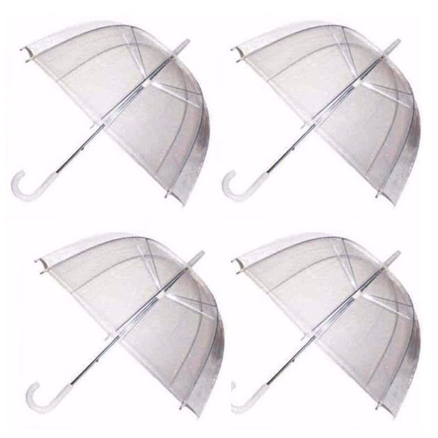 Ardisle 4 x Set Rain parapluies Dôme Birdcage Transparent PVC Mariage Brolly Clear Bubble