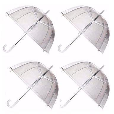 40db0523a GadgetKing 4 x Set Rain Umbrellas Dome Birdcage Transparent PVC Wedding  Brolly Clear Bubble Bubble White