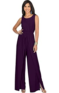 899ab74a45069 Koh Koh Womens Sleeveless Cocktail Wide Leg One Piece Jumpsuit Romper  Playsuit