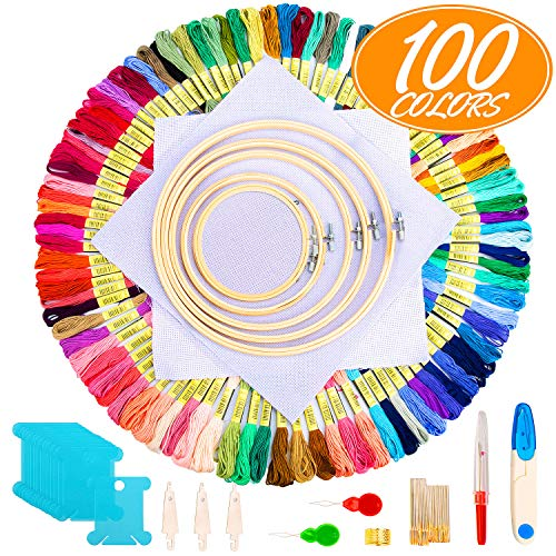 Hohoto Cross Stitch Kits, Embroidery kit Including 5 PCS Embroidery Bamboo Hoops, 100 Color Threads, 2 PCS 11.8 inches Aida Cloth and Needles Set