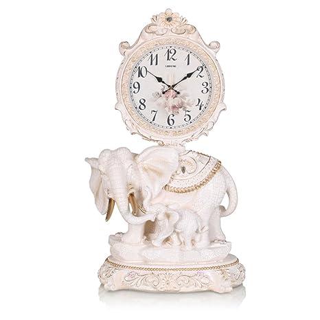 Clock Reloj de Escritorio Mantel Relojes de Sala de Estar Dormitorio Mute Resin Landing Elefante -