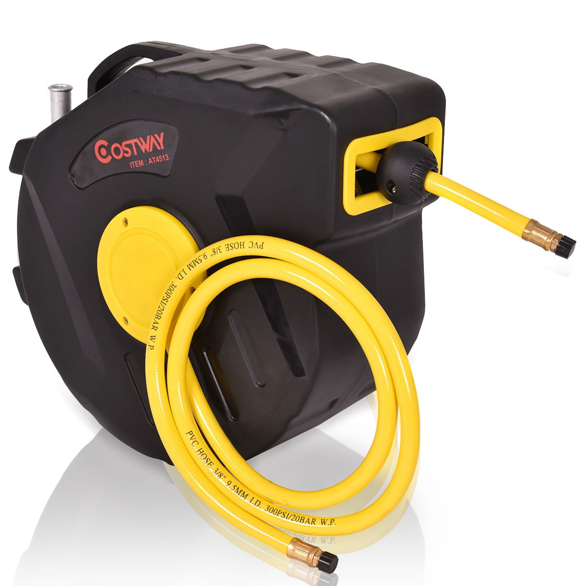 Toolsempire Air Hose Reel with 3/8 In. x 50 Ft Hybrid Air Hose Retractable Air Compressor Hose Reel 300 PSI Auto Rewind Garage Tools