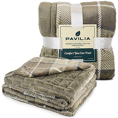 Pavilia Premium Plaid Fleece Faux Fur Throw Blanket