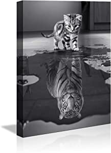 Wall Art for Office Motivational Posters Small Cat Pictures Big Tiger Canvas Painting Mindset is Everything Print Poster Artwork Wooden Home Decor for Living Room Bedroom Office