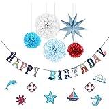 SUNBEAUTY Geburtstag Dekoration Set Happy Birthday Girlande Maritime Deko für Kindergeburtstag (Blau)