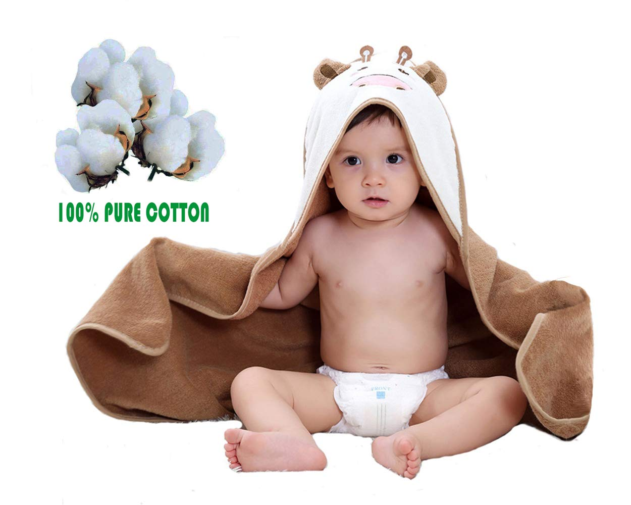 Leedemore-Cartoon Little Cow puro cotone mantello incappucciato tovagliolo di bagno, Bambino appena nato con cappuccio Swaddle, asciugamano per bambini (0-5 anni) 704630098665